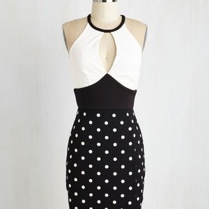 Mystic polka dot black and white dress size large